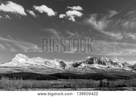 scenic view of Glacier National Park in black and white Montana USA