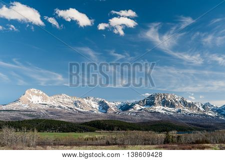 scenic view of Glacier National Park on a beautiful blue sky in Montana USA