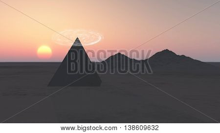 Pyramid and mountains in the rays of sunset. 3D illustration