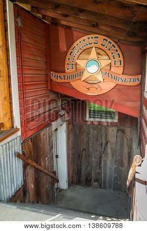 Winthrop Wa. USA -June 18 2009 : entrance with sign of Marshall's office in Winthrop Washington