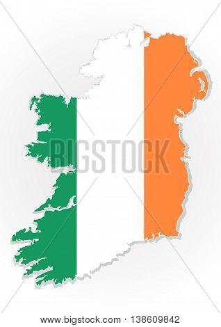 Map of the Republic of Ireland with national flag isolated on white background. Ireland flag overlay on Ireland map. Vector illustration