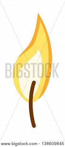Bright fire flames with sparks isolated on white background. Vector illustration fire flame. Fire flame bonfire warm and blazing campfire energy fire flame. Flammable element light fireplace