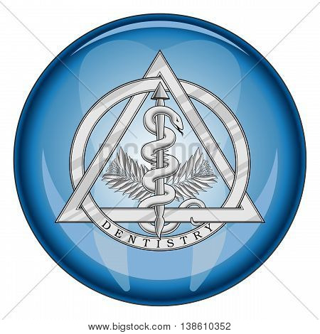 Dentistry Medical Symbol Button is an illustration of a silver dentistry or dental symbol in a shiny blue button shape.
