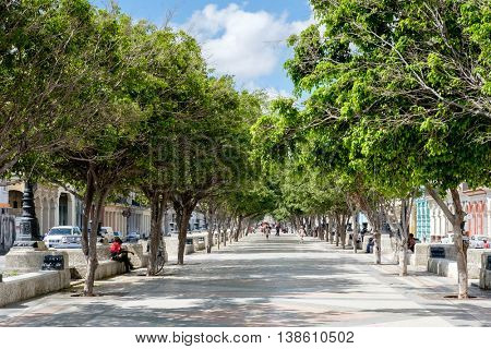 HAVANA,CUBA - JULY 14,2016 : The famous  Prado boulevard in Havana