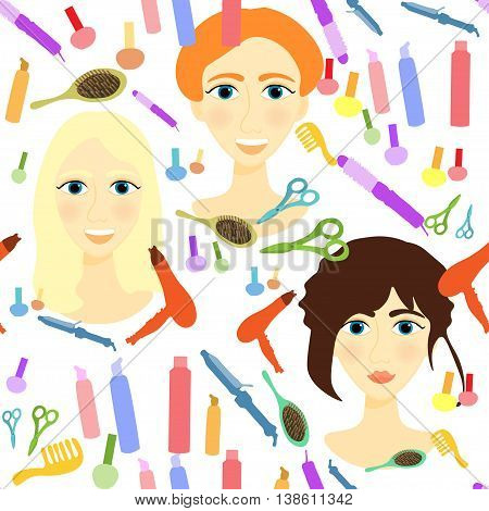 Seamless Pattern With Girls, Comb, Nail, Hair Styler. Vector Illustration