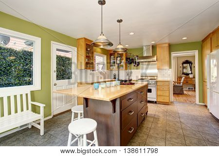 Small Kitchen Room Interior With Green Walls And Tile Floor.