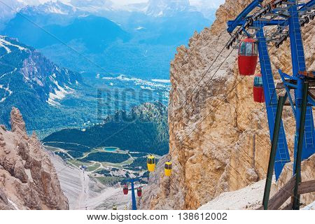 Cable car terminus on the Monte Cristallo massif in the Dolomites near to Cortina Italy