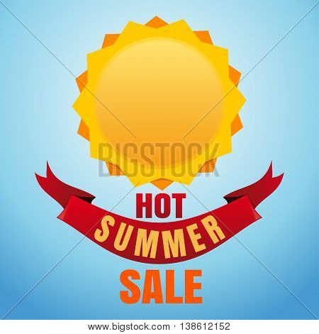 Sun logo icon and lettering on a sky blue background. Hot Summer Sale. Label design template. Summer, nature, sun. Sun editable vector illustration