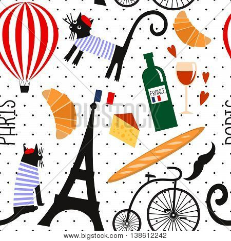 French culture symbols seamless pattern on polka dots background. Funny Paris illustration: wine, Eiffel tower, baguette, retro bicycle, mustache, cheese. Cute summer holidays Paris vector background.