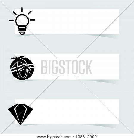 Banner With Diamond And Lightbulb Set Illustration