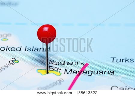 Abrahams Bay pinned on a map of Bahamas