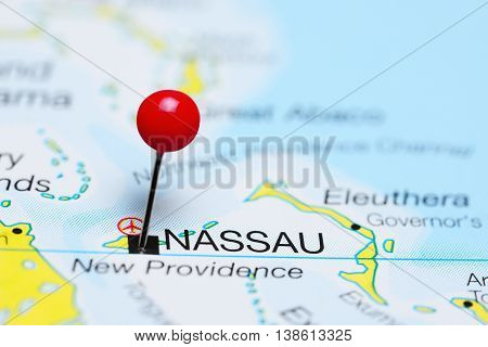 Nassau pinned on a map of Bahamas