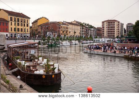 MILAN ITALY - JUNE 12: View of Darsena wet dock in Milan on June 12 2016