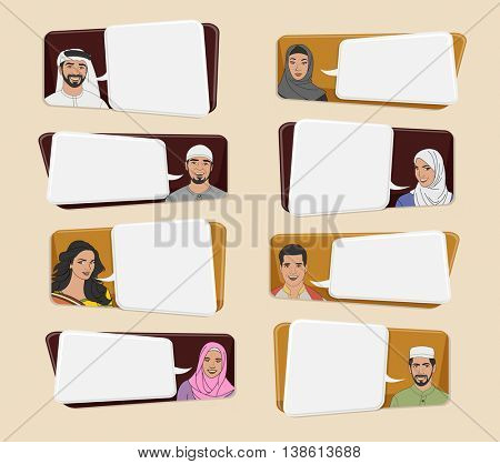 Muslim people wearing traditional clothes talking with speech bubbles