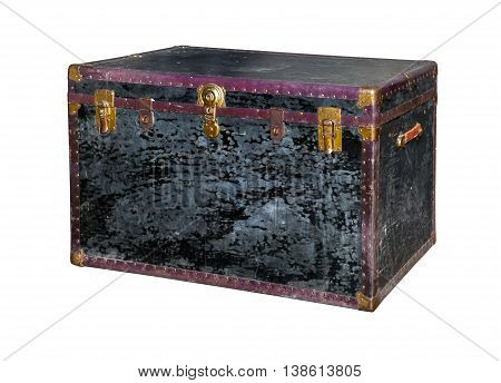 Old trunk chest isolated on white background
