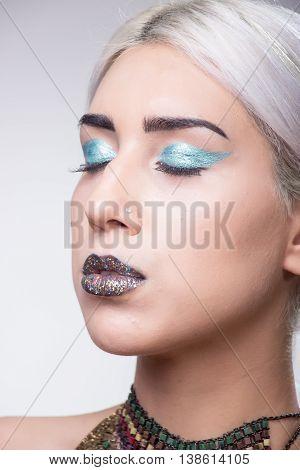 Girl Portrait Eccentric Make Up Eyes Closed