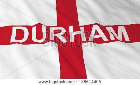 English Flag With Durham Text 3D Illustration