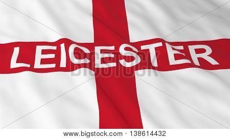 English Flag With Leicester Text 3D Illustration