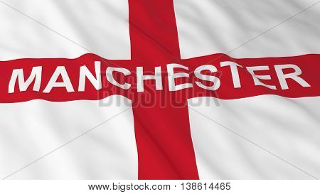 English Flag With Manchester Text 3D Illustration