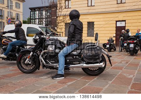 MILAN ITALY - JUNE 05: Motorcyclist on his harley davidson on June 05 2016