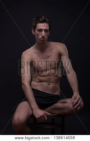 Nude Young Man Model Posing Sitting Caucasian Skinny Slim Fit Abs