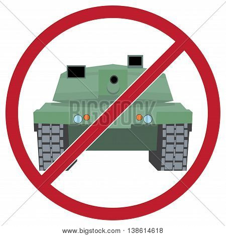 Military equipment. Tank against the background sign ban