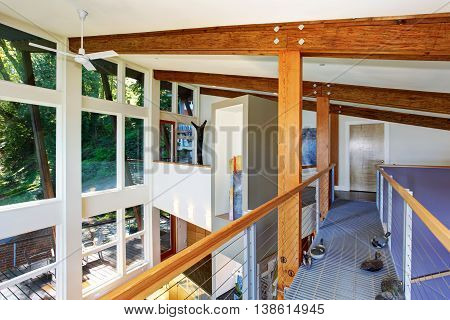 Staircase Bridge With Panoramic View And Wooden Beams Ceiling.