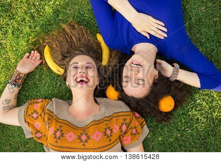 Two Young Girls Women Laughing Elevated View