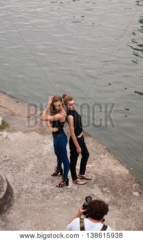 MILAN ITALY - JUNE 12: Models during a photoshooting on June 12 2016