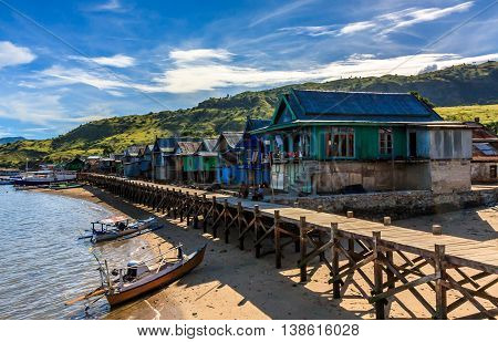 A traditional village on the coast of Komodo Island in indonesia