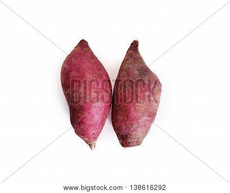 Yam Potatoes Close Up On White Background.