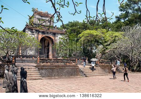 HUE, VIETNAM, April 30, 2016 World Heritage, the royal Hue, central Vietnam