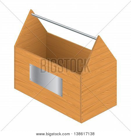 Tool box with steel sign isolated on white background. Brown wooden texture.