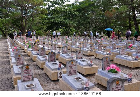 QUANG TRI, VIETNAM, June 14, 2016 the cemetery, Truong Son, Quang Tri Province, central, Vietnam, veterans groups, visited the memorial