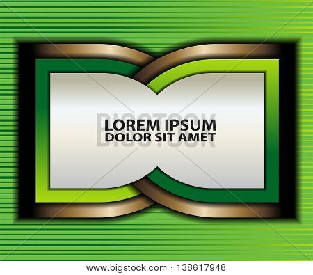 Green background vector overlap dimension on white background square line for text and message design