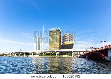 modern office buildings and elevated bridge near tokyo tower in downtown of tokyo in blue sky