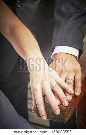 View of newlyweds hands with rings on wood