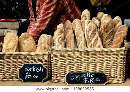 Turkish bread and baguettes for sale in the market.