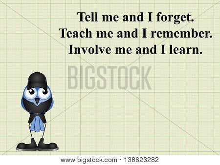 Involve me and I learn quotation on graph paper background with copy space for own text