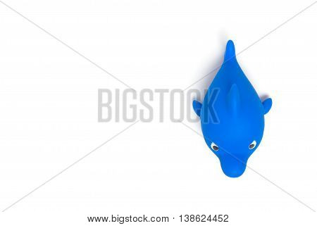 Blue Shark Bathroom toy isolated on white with copy space