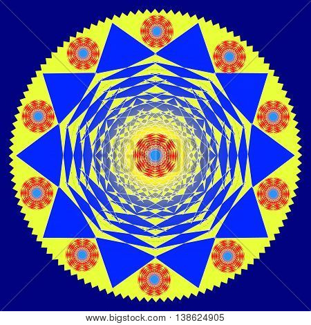 Blue and yellow pattern. The Indian and the east the sun on a blue background