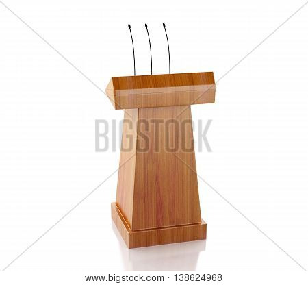 3d renderer image. Wooden podium with microphones. Isolated white background.