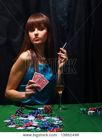 Sexy young girl in casino