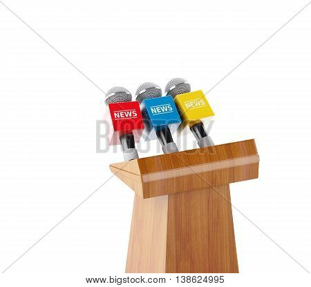 3d renderer image. Wooden podium with news microphones. Isolated white background.