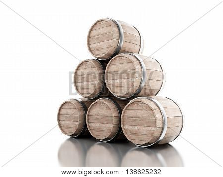 3d renderer image. Beer barrels. Isolated white background.