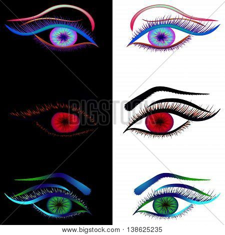Demonic and angelic look. The eyes of an angel and a demon in red, black and iridescent options