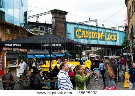 London, England - July 8, 2016: Camden Lock sign at the entrance to Camden market, a famous tourist and locals hanging spot.