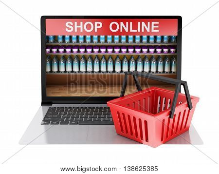 3d renderer image. Online grocery shopping market with cart. Online shopping concept. Isolated white background.