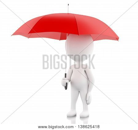 3d renderer image. White people with a red umbrella. Isolated white background.
