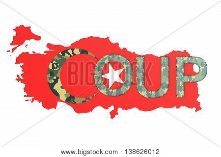 Turkey coup concept 3D rendering isolated on white background